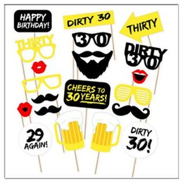 Wholesale Pack Photo - 20pcs pack DIY 30th Birthday Party Photo Booth Props Kit Suitable for His or Hers 30th Birthday Celebration CCA7408 100set