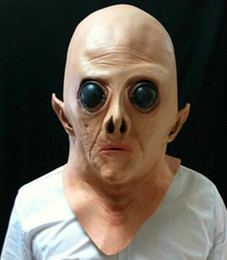 Wholesale Alien Cosplay - Realistic UFO Alien Head Latex Mask Cosplay Creepy Saucer Man Full Face Halloween Party Mask Horror Ghost Costume Mask