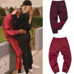Wholesale Kanye West Pants - Kanye Red Casual Pants West Coast Pablo Kanye Season4 Fitness jogging pants Men And Women Jogging Pants Calabasas Print Sweatpants