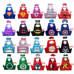 Wholesale Spiderman Masks For Kids Party - Double sides kids Superhero Capes and masks Spiderman Flash Supergirl Batgirl Robin for kids capes with mask party costumes