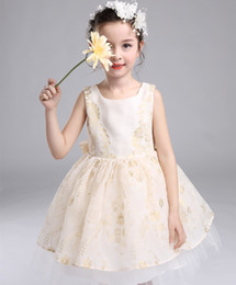 Wholesale Autumn Threads - Unique Girls Lace Dress Tutu Dance Princess Dresses Girls performance Costumes Champagne Flower gold thread Girl's Party Dressy A7149