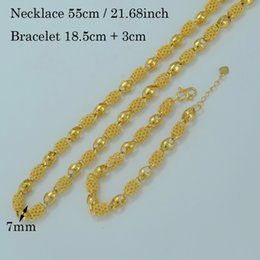 Wholesale Thick Necklaces For Women - ubai necklace Anniyo Dubai Necklace Bracelet for Women Gold Color Arab Jewelry sets Ethiopian Thick Chain & Hand Chain Wedding Party ...