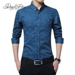Wholesale Ds Shirt - Wholesale- DAVYDAISY High Quality 2017 Full Sleeve Dress Shirt Men Social Work Brand Printed Male Clothes Business Formal Shirts 5XL DS-1