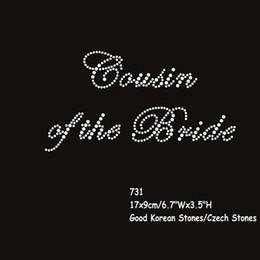 Wholesale Iron Rhinestone Transfers Bride - 30pcs lot Wedding Hen Diamante Rhinestone Crystal stones Iron On Transfers Cousin Of the Bride Motif