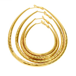 Wholesale Copper Printing Plates - 4 diffferent sizes big small mixed order oval egg waterdrop shape plaid print 18k gold plated hoop earrings hoops for women #016Y