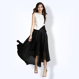 Wholesale Black Asymmetric Skirt - Panelled Vest Irregular Long Skirt Women's Sets 2017 Summer Stitching Sleeveless Top Pleated Long Dresses Two Piece Acetate Female Suit