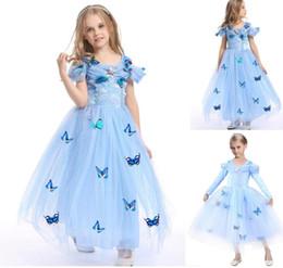 Wholesale Wholesale Dres - 2017 Hot New Summer Girls Frozen Princess dress,Kids Cosplay performance Beauty Dress,Bella butterfly Girls Dress Children Costume Kids dres