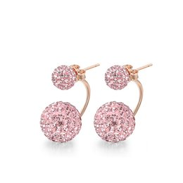 Wholesale Round Ball Crystal Chandeliers - Pink Purple Round Clear Crystal Ball Earrings Double Side Fashion Jewelry Crystal Stud Earring For Women SWE00313