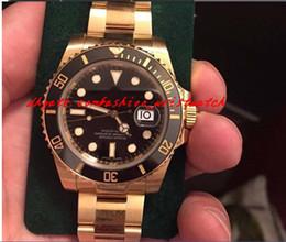 Wholesale Mens Watch Diamond Dive - Luxury Watches Wristwatch New Sport Model Ceramic 18kt Yellow Gold 40mm Black Diamond Dial 116618 Mechanical Dive Mens Specialized Wristwatc