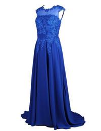 Wholesale Cheap Plus Evening Dresses - Plus Size Evening Dress 2017 Vestidos Festa Longo Lace Appliques Royal Blue Chiffon Long Party Dress Cheap