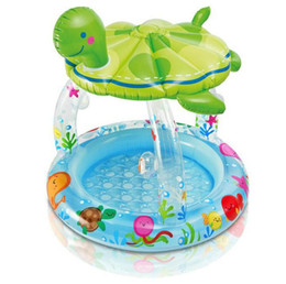 Wholesale Turtle Pool Baby - Wholesale- INTEX57119 turtle covered baby pool baby pool children's home game pool of high-quality 102 * 107CM