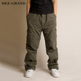 Wholesale Hip Padding Pants - Wholesale-HEE GRAND Men Casual Thick Cargo Pants Hip-Hop Style Mid-waist Warm Padded Multi-pockets Winter Trousers 4 Colors MKX1040