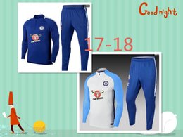 Wholesale Men S Windproof Pants - 2017 2018 New Top quality Chelsea tracksuit chandal 17 18 Chelsea football Tracksuit training suit skinny pants Sportsw