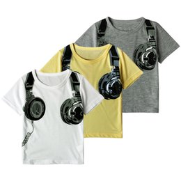 Wholesale Christmas Clothes For Boys - Kids Headphone printing T shirt boy girls short sleeve earphone printed T shirt ins hot infants kids clothing for 2-7T