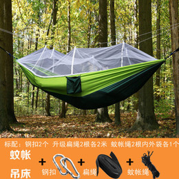 Wholesale Mosquito Products - Wholesale- Two person Hammocks mosquito net Outdoor Furniture parachute fabric 210T dacron hammock swing 260*140cm Outdoor products 2017