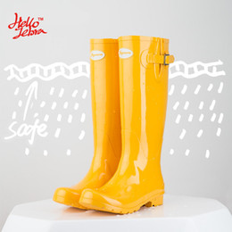 Wholesale transparent knee boots - Hellozebra Women Rain Boots England Light knee High Rain Boots Women Candy Color Water Shoes Fall Boots Women Rubber 2017 New Design Fashion