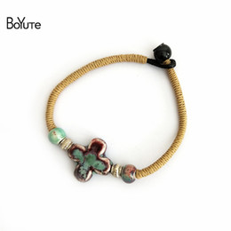 new diy products Promo Codes - BoYuTe New Product 5Pcs Vintage Diy Handmade Knitted Chinese Porcelain Ceramic Cross Charm Bracelets for Women