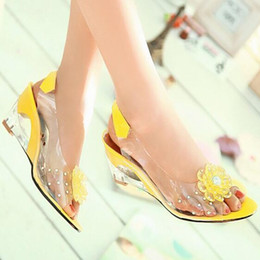 Wholesale blue jelly sandals - Hot Sale Summer Sandals Women Peep Toe Wedge Sandals Flowers Sweet Jelly Shoes Woman Shoes For Lady Plus Size