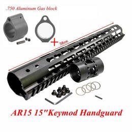 "Wholesale Aluminum Quad Rail - 13.5""15""Free Float Quad Rail NSR Keymod Handguard Mount Bracket Detachable Rail Barrel Nut with Aluminum Gas Port Controller For AR15 M4 M16"