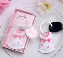 Argentina Envío libre de DHL 100pcs / lot Favores y regalo de la fiesta de bienvenida al bebé Ropa linda del bebé Llavero Llavero temático rosado azul para el muchacho Suministro