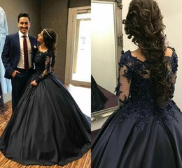 Wholesale Long Sweet Sixteen Dresses - Navy Blue Ball Gown Quinceanera Dresses Off Shoulder Long Sleeves Appliques Satin Floor Length Prom Dresses Modest Sweet Sixteen Dress