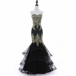 Wholesale Real Sample Black Prom Dress - 2018 New Arrival Real Samples Sleeveless Gold Lace Mermaid Evening Dresses Long Formal Backlass Prom Party Gowns MZ8956