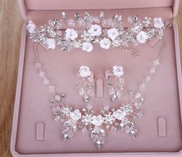 Wholesale Handmade Bridal Necklaces - Bridal headwear-American style Crown Necklace Earring handmade wedding jewelry three piece set of wedding jewelry hair accessory set