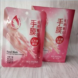 Wholesale Hand Exfoliating Mask - New Rolanjona Milk Bamboo Vinegar hand Mask Peeling Exfoliating Dead Skin Remove Professional hand sox Mask hand Care