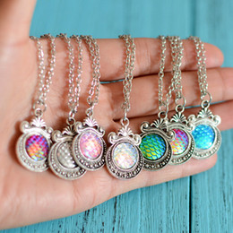 Wholesale Vintage Mirror Pendant - Vintage Silver Tone Mirror Base With Mermaid Scales Glass Cabochon Gem Pendant Necklace Free 20 Inches Link Chain choker Jewelry