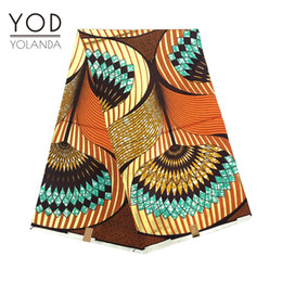 Wholesale YOD Best Sell Nigeria African Traditional Yellowish brown Irregular Jacquard wax African Women dresses Spandex Fabric yards