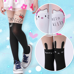 Wholesale Tattoo Knee Socks - Wholesale-2016 summer Girls Lovely Nylon stockings animals Patterned Double Color Splice Tattoo Pantyhose Over the Knee Tights 15061