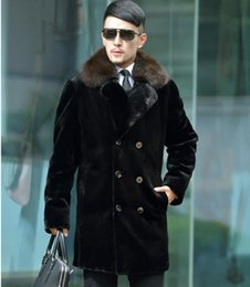 Wholesale Double Breasted Rabbit Coat - Black warm faux imitation mink rabbit fur coat mens leather jacket double-breasted coats villus winter loose thermal outerwear big size 5XL