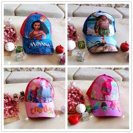 Wholesale Cartoon Cool Boy - Kids Hats Moana Troll Caps Girls Anime Cartoon Hats Boys Cosplay Baseball Caps Baby Cool Hip-hop Sun Hats Kids Ball Snapbacks Hat M1