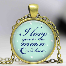 Wholesale Necklace Ideas - Free shipping I love you to the moon and back Necklace valentine gift jewelry moon pendant necklace best friend gift idea