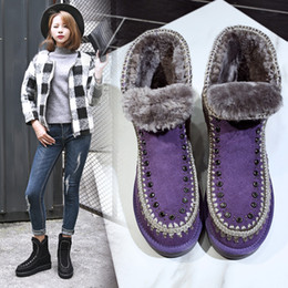 Wholesale Plus Size Calf Boots - Eu 34-40 New Mou Women Leather Fur Waterproof Antiskid Slip-on Rhinestone Snow Boots Outdoor Thicken Shoes Plus Size US 5-8.5