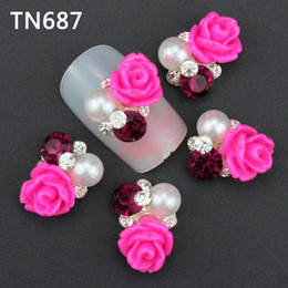 Wholesale Nail Art Metal Rose - Wholesale-10Pcs New 2015 Gliter Rose with Rhinestones,3D Metal Alloy Nail Art Decoration Charms Studs,Nails 3d Jewelry TN687