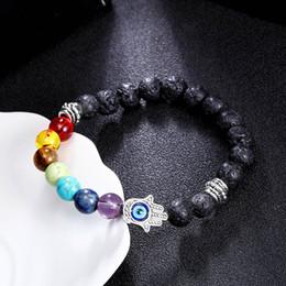 Wholesale Evil Eye Silver Charm - 8mm 7 Chakras Gemstone Bracelet Hamsa Evil Eye Meditation Yoga Jewelry Stretch Aromatherapy Bracelet Men and Women Bracelet B361S