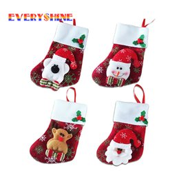 Wholesale Cheap Cloth Bags - Cheap For Sale 1pcs Santa Claus Gift Holders Xmas Tree Decoration Ornaments Christmas Stockings Candy Bags For Home Decor Sd290