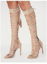 Wholesale Sexy Ladies Heel Knee Boots - 2017 Summer High Heels Gladiator Sandals Boots European Sexy Heels Cross Tied Knee Sandals Women Shoes Khaki Sandals Ladies