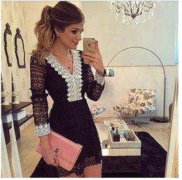Wholesale Sexy Mini Clothing - Wholesale Women Clothing Partchwork Lace Dress Autumn Elegant out V-Neck Sexy Hollow Long Sleeve Slim Party Form Dresses for Women