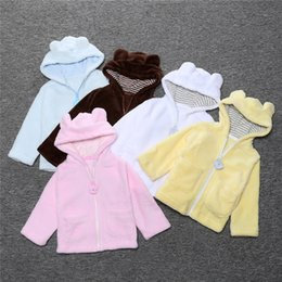 Wholesale Baby Outer Coat - New Spring Fall Baby Hoodies Coats Babies Velvet Warm Overcoats Clothes With Zipper Infants Toddlers Outer Wear With Hooded Coats For 0-2T