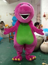Wholesale Barney Dinosaur Dress - Barney Dinosaur Mascot Costume Benny Fancy Party Dress Halloween Carnivals Costumes With High Quality For Adult