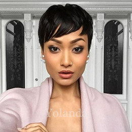 Wholesale Real Hairstyles - Human Real Hair Pixie Cut Black Short Wig For Black Women Adjustable Size Hair Human Short Black Wigs African American Wigs