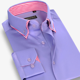 Wholesale Double Layer Shirts - Wholesale- CAIZIYIJIA Fall 2016 Men's Double Layer Collar Button-Down 100% Cotton Casual Dress Shirts For Men Long Sleeve Slim Fit Shirt