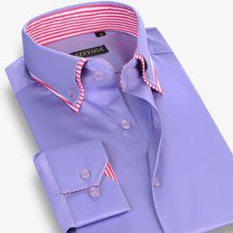 Wholesale Long Sleeve Shirt Double - Wholesale- CAIZIYIJIA Fall 2016 Men's Double Layer Collar Button-Down 100% Cotton Casual Dress Shirts For Men Long Sleeve Slim Fit Shirt