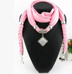Wholesale Scarf Pendent - Fashion Solid Square Opal Pendent Scarf Bohemia Tassels Neckerchief Womens Accessories Scarves Autumn Winter Ladies Echarpe Red