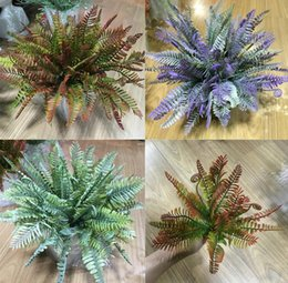 Wholesale Wholesale Greenery - 5pcs Artificial Nephrolepis Fern Branch Greenery For Plant Wall Background Wedding Party Home Office Bar Decorative