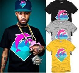 Wholesale pink bangs - Couple Tee Pink Dolphin O-Neck Dolphin Print T Shirt Hip Hop Clothes Big Bang 6 Color 100% Cotton
