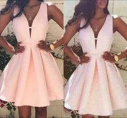 Wholesale Cute Simple Prom Dresses - 2017 Simple Cute New Pink Homecoming Dresses V-Neck Sleeveless Satin Short Prom Cocktail Graduation Gowns vestido de festa curto
