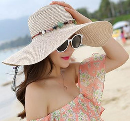 Wholesale Large Sun Shades Outdoor - Korean summer outdoor Beach Beach Hat Lady sun hat large flat solid sun shading hat along the eaves